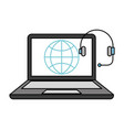 laptop computer headset world isolated image vector image