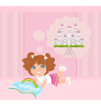 little girl reading fairy tales vector image