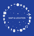 map and location icon set infographic template vector image