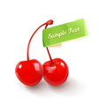 pair cherries for cocktails logo vector image vector image