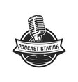 podcast station emblem template with retro vector image vector image