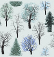 seamless pattern with winter trees vector image