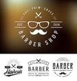 set barber shop logo and decorative vector image vector image