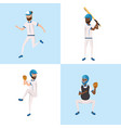 set baseball players team with professional vector image