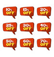 set of discount red tags or label isolated on vector image vector image