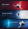 set of space banners space shuttle mars earth vector image