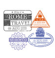 ship and airplane travel stamps of rome usa and vector image vector image