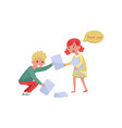 smiling boy helping girl to picking up paper from vector image vector image