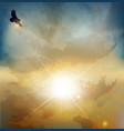 Soaring eagle background vector image