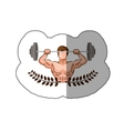 sticker ornament leaves with muscle man lifting a vector image vector image