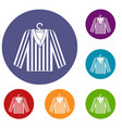 striped pajama shirt icons set vector image vector image