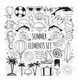 summer hand drawn set elements for logos design vector image vector image