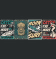 surfing vintage posters collection vector image vector image