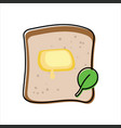 toast with melted butter and green leaf - top view vector image vector image