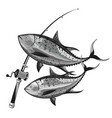 tuna and fishing rod vector image vector image