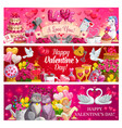 valentines day red hearts flowers gifts cupid vector image vector image