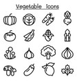 vegetable icon set in thin line style vector image vector image