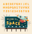 vintage space rocket billboard sign vintage vector image vector image