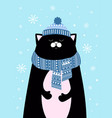 winter card with cute cat vector image