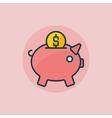 Piggy bank flat icon vector image