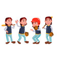 baseball boy schoolboy kid poses set vector image vector image