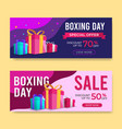 boxing day banner sale templates with gift box and vector image