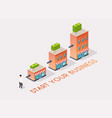 businessman starts his own business isometric vector image