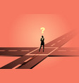 businesswoman standing at intersection or vector image