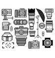 camera and photo equipment isolated icons vector image vector image