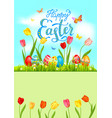 card bright blue easter vector image vector image