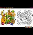 cartoon fruits coloring page vector image