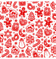 christmas and new year seamless pattern red vector image