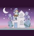 clip arts moon dwarf color set vector image