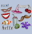 colorful stickers set party and summer concept vector image