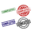 damaged textured completed stamp seals vector image
