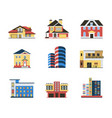 digital blue red city buildings vector image vector image