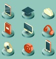 e-education color isometric icons set vector image vector image