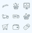 ecommerce icons line style set with ecommerce vector image vector image