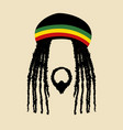 face symbol of a man with dreadlocks hairstyle vector image vector image