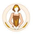 farmer woman in work clothes holding ears of vector image vector image