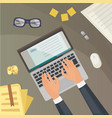 flat design top view on desk concept design vector image vector image