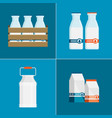 flat milk icon set isolated on color background vector image