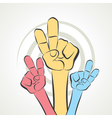 hand show victory sign vector image