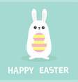 happy easter white bunny rabbit holding painted vector image vector image