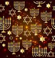 happy hanukkah shining background with menorah vector image vector image