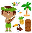 hawaiian boy playing music with his guitar vector image
