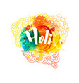holi holiday greeting logo emblem vector image vector image