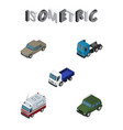isometric car set of lorry auto armored and vector image vector image