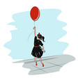 little school girl with a red balloon flying in vector image