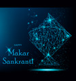 makar sankranti greeting card with polygonal kite vector image vector image